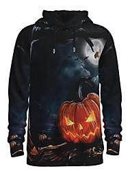 رخيصةأون -رجالي مناسب للبس اليومي البلوز هوديي البلوز 3D الرسم قرع أساسي Halloween هوديس بلوزات أزرق