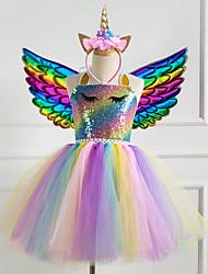cheap -Kids Little Girls' Dress Rainbow Sequins Light Green Rainbow Knee-length Sleeveless Cute Dresses New Year