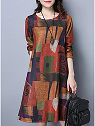 cheap -Women's A-Line Dress Knee Length Dress - Long Sleeve Print Fall Casual Hot vacation dresses Cotton 2020 Purple Orange M L XL XXL