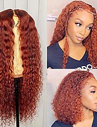 cheap -warm orange red curly  pre plucked with baby hair legendary colored kinky curly black women(18 inch)