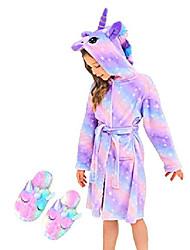 cheap -unicorn hooded bathrobe sleepwear matching slippers girls gifts & #40;bright purple, 3-4 years& #41;