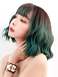 cheap -Synthetic Wig Curly With Bangs Wig Short Green Purple Orange Synthetic Hair 16 inch Women's Soft Cool Color Gradient Blue Purple