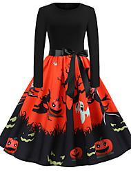 cheap -Women's Halloween A Line Dress Knee Length Dress Black Blue Orange Long Sleeve Bat Print Zipper Patchwork Print Fall Round Neck Hot Vintage 2021 S M L XL XXL