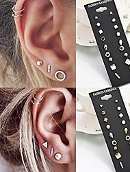 cheap -9pairs/set simple vintage geometric crystal stud earrings set charm trendy gold/silver alloy punk earrings women causal jewelry accessories gift