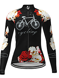 cheap -21Grams Women's Long Sleeve Cycling Jersey Winter Elastane Black Floral Botanical Bike Top Mountain Bike MTB Road Bike Cycling Breathable Quick Dry Ultraviolet Resistant Sports Clothing Apparel