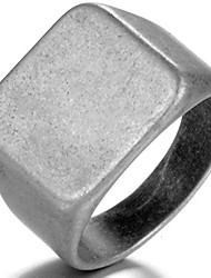 cheap -stainless steel signet ring black silver gold classical cocktail husband father valentine (grey, 9)