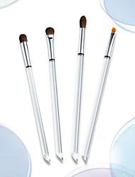 cheap -4 Pcs Eye Makeup Brush Set Animal Pony Hair Eye Shadow Eyebrow Dry And Wet Powder Brush Transparent Handle