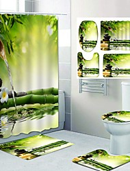 cheap -Bamboo Flowing Water Pattern Printing Bathroom Shower Curtain Leisure Toilet Four-Piece Design