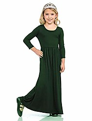 cheap -girls dresses short sleeves dress summer long holiday maxi dress with pocket size 4-10t (long green, 11-12years/140cm)