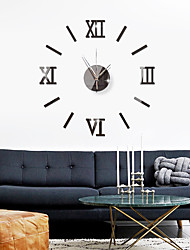 cheap -3D DIY Wall Clock Roman Numerals Clock Frameless Mirror Wall Sticker Home Decor for Living Room Bedroom 40cm*40cm