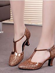 cheap -Women's Modern Shoes Ballroom Shoes Line Dance Heel Cuban Heel Silver Gray Black / Gold Purple