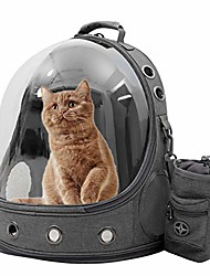 cheap -pet carriers backpacks bubble bag, premium space capsule cat dog carrier backpack travel bag kitten doggy back pack for traveling hiking camping outdoor use, award pet treat pouch, grey