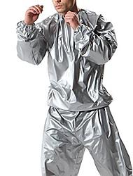 cheap -2 piece unisex neoprene sauna workout burning fat weight loss sweat suit silver (xl)