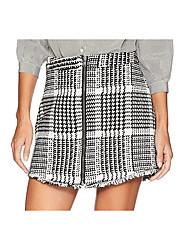 cheap -Women's Daily Wear Basic Cotton Skirts Plaid Black / Mini / Slim