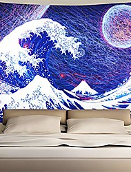 cheap -ocean wave tapestry wave crashes tapestry the great wave off kanagawa tapestry with abstract moon hippie tapestry wall hanging for bedroom living room dorm(w78×h59 inches)