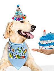 cheap -dog birthday bandana set with hat & squeaky cake toy - dog birthday party supplies outfit and gift, great for small medium large dogs