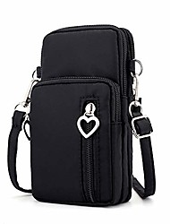 cheap -oxford cell phone purse wallet pouch mini crossbody shoulder bag zip handbag with card pocket (black)