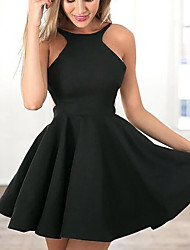 cheap -A-Line Little Black Dress Sexy Homecoming Cocktail Party Dress Halter Neck Sleeveless Short / Mini Satin with Pleats 2020