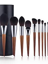 cheap -11 Pcs Makeup Brushes Set Slanted Tail Makeup Brushes Wood Color Makeup Brushes Beauty Tool Set Full Set