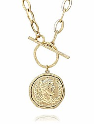 cheap -pomina gold silver chunk chain necklace medallion coin pendant toggle necklace (worn gold)