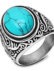 cheap -retro vintage statement blue oval turquoise rings size 15