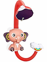 cheap -baby bath toys, electric elephant animal sucker electric shower rain head children bathing time game toy, 360 ° angle adjustment, two water outlet methods, electric circulation, red