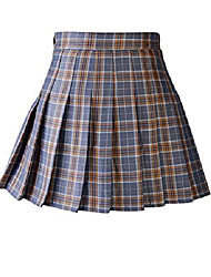 cheap -women's school uniforms plaid mini skirt high waist pleated skirt a-line short skirt