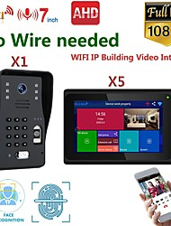cheap -MOUNTAINONE SY706B018WF13 7 Inch Wireless WiFi Smart IP Video Door Phone Intercom System With One 1080P Wired Doorbell Camera And 5x Monitor  Support Remote Unlock