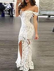 cheap -Women's Bodycon Maxi long Dress - Sleeveless Solid Color Paisley Lace Split Off Shoulder Hot Sexy White S M L XL