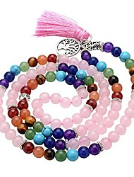 cheap -7 chakra buddha mala prayer beads 108 meditation healing multilayer bracelet/necklace w/tree of life tassel charm (rose quartz)