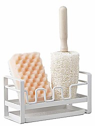 cheap -yjsmo dish sponge holder for kitchen sink organizer caddy brush holder cleaning soap brush drain rack with drain tray, multifunction,made of iron (white)