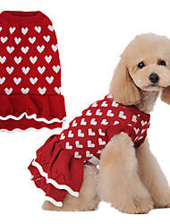 cheap -Dog Cat Sweater Dress Love Casual / Daily Cute Winter Dog Clothes Red Costume Polyester XS S M L XL XXL