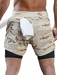 cheap -men's 2-in-1 running workout shorts gym running athletic short with towel loop(khaki camo m/tag xl)
