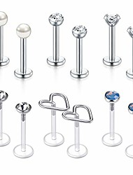 "cheap -plastic tragus earrings clear labret lip studs cartilage helix earring cz flexible conch earlobe bioflex piercing jewelry 1/4 5/16"" 3/8 6mm 8mm 10mm (set b5-10mm -silver)"