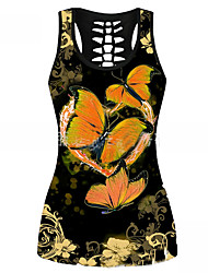 cheap -Women's Tank Top Butterfly Cut Out Print U Neck Tops Sexy Basic Top Blue Red Fuchsia