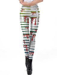 cheap -Women's Exaggerated Breathable Slim Halloween Leggings Pants Striped Ankle-Length Print High Waist White