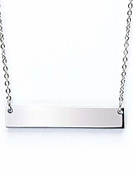 cheap -chic polished stainless steel silver tone horizontal bar necklace pendant 5 colors with chain