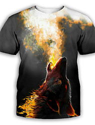 cheap -Men's Graphic T shirt 3D Print Print Short Sleeve Party Tops Exaggerated Round Neck Dark Gray