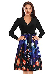 cheap -Women's A-Line Dress Knee Length Dress - Long Sleeve Print Lace up Patchwork Fall V Neck Casual Halloween 2020 Blue S M L XL XXL 3XL