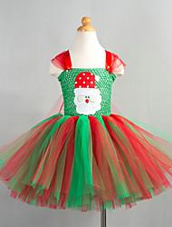 cheap -Kids Little Girls' Dress Christmas Lace up Green Knee-length Sleeveless Cute Dresses Christmas