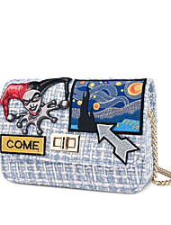 cheap -Unisex Bags PU Leather Linen Evening Bag Crossbody Bag Pattern / Print Chain Wedding Bags Christmas Gifts Party Event / Party Black Blue Yellow Blushing Pink