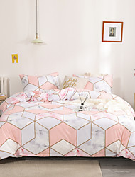 cheap -Marble Print 3 Pieces Duvet Cover Set Pink Color Bedding Set Geometry Plaid Print Bedding Sets Queen Include 1 Duvet Cover and 1 or 2 Pillowcases