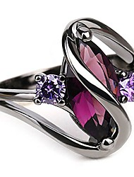 cheap -trendy engagement wedding rings women horse eye cz black gold rings size 6-10