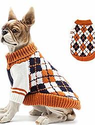 cheap -knitted high collar diamond plaid cat dog sweater, cat dog accessories, cat dog apparel, pet sweatshirt
