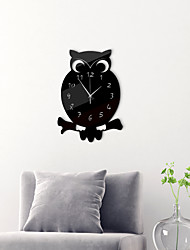 cheap -Morden Acrylic Wall Clock, Silent Non-Ticking Owl Shape Mirror Wall Clocks Battery Operated Decorative Wall Clock for Office, Kitchen, Living Room