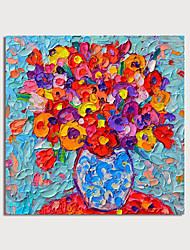 cheap -Oil Painting Hand Painted Square Abstract Floral / Botanical Modern Stretched Canvas