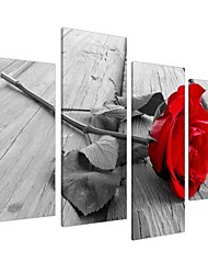 cheap -red rose floral black white canvas wall art pictures set 130cm wide xl prints,4 panel prints artwork valentine's day modern paintings home decoration stretched and framed ready to hang