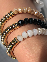 cheap -Women's Bead Bracelet Bracelet Crystal Bracelet Beaded Fashion Birthday Luxury European Trendy Fashion Boho Austria Crystal Bracelet Jewelry White / Black / khaki For Gift Date Birthday Beach Festival