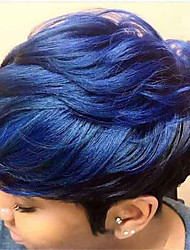 cheap -Synthetic Wig kinky Straight With Bangs Wig Short Blue Synthetic Hair 6 inch Women's Fashionable Design Cool Exquisite Blue