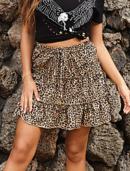 cheap -Women's Daily Wear Basic Skirts Floral Leopard Layered Ruffle Black Khaki